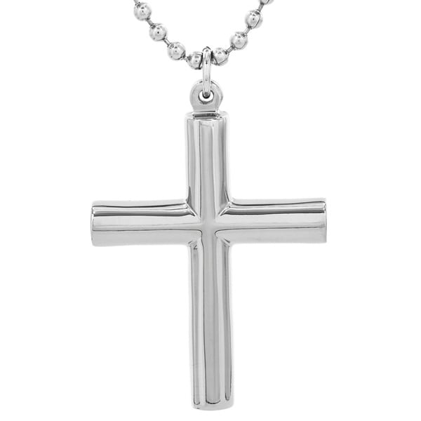 Titanium Cylindrical Cross Necklace