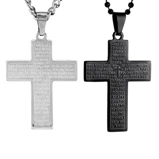 Stainless Steel Lord's Prayer Cross Necklace