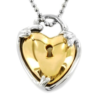 Two-tone Stainless Steel Heart Lock Necklace