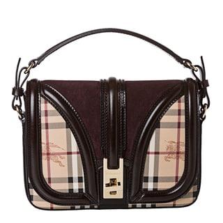 Burberry '3826777' Small Haymarket Suede Panel Crossbody Bag