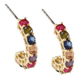 City by City City Style Goldtone Multi-colored Glass Semi-hoop Earrings