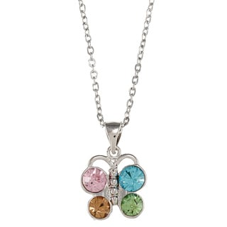 City by City City Style Silvertone Multi-colored Glass Butterfly Necklace