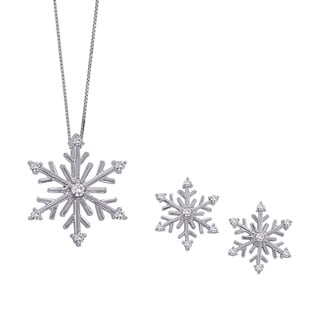 Sterling Silver and White and/or Blue Diamonds Snowflake Earrings and/or Pendant (Mix-n-Match Sets)