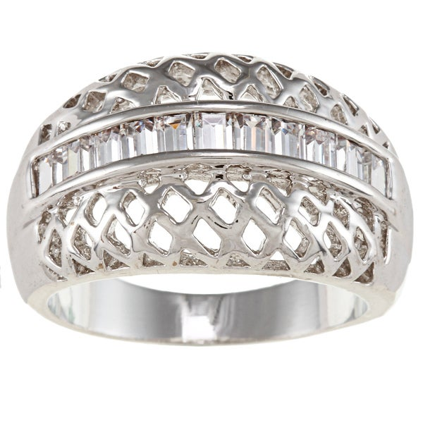 City by City City Style Silvertone Clear Cubic Zirconia Woven Design Ring