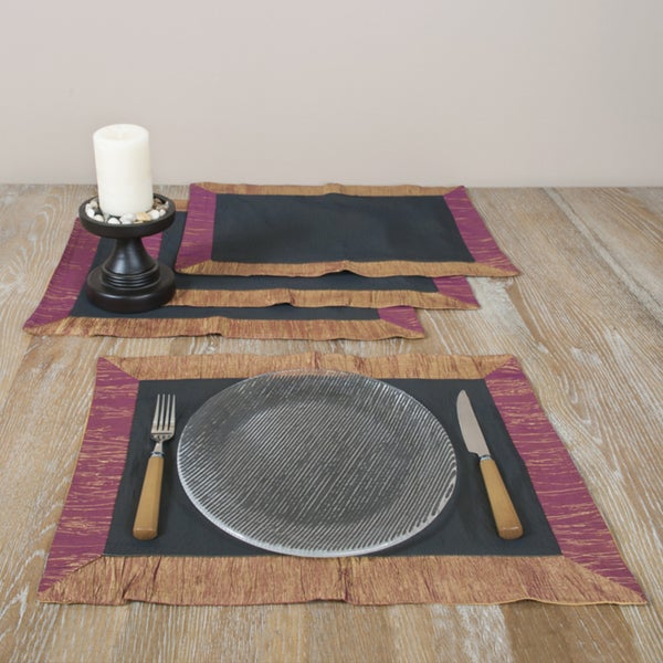 Saro Two-tone Crushed Border 14-inch Placemats (Set of 4)