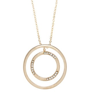 City by City City Style Goldtone Clear Cubic Zirconia Double Circle Necklace