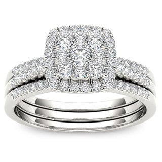 De Couer 10k Gold 1/2ct TDW Diamond Halo Engagement Ring Set