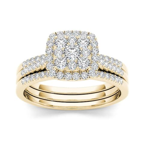 De Couer IGI Certified 10k Gold 1/2ct TDW Diamond Halo Engagement Ring Set