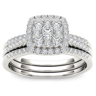 De Couer 10k Gold 1/2ct TDW Diamond Halo Engagement Ring Set (H-I, I2)