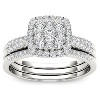 De Couer 10k Gold 1/2ct TDW Diamond Halo Engagement Ring Set