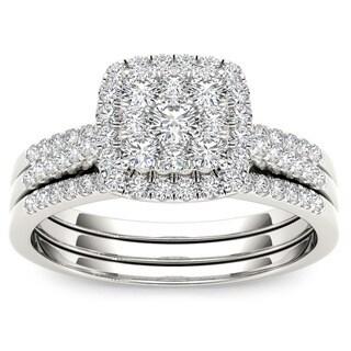 De Couer IGI Certified 10k Gold 1/2ct TDW Diamond Halo Engagement Ring Set