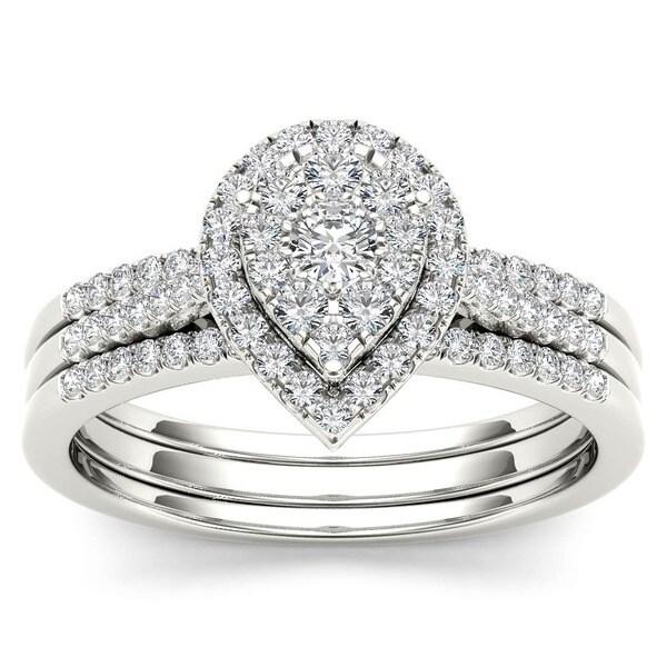 De Couer 10k White Gold 1/2ct TDW Diamond Bridal Set (H-I, I2)