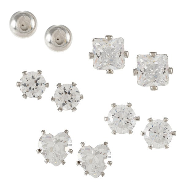 City by City City Style 5-piece Silver Stud Earrings Set