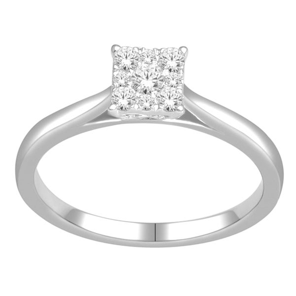 De Couer 10k White Gold 1/4ct TDW Cluster Diamond Ring
