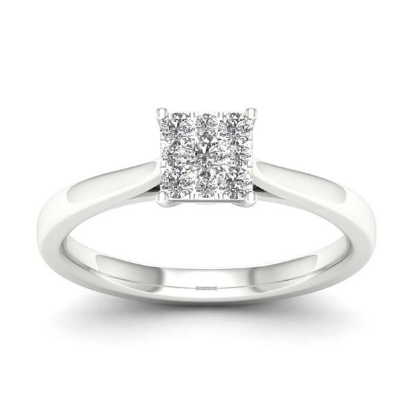 De Couer 10k White Gold 1/4ct TDW Cluster Diamond Ring