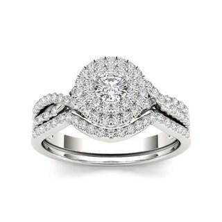 De Couer 10k Gold 3/ 4ct TDW Diamond Halo Bridal Ring Set