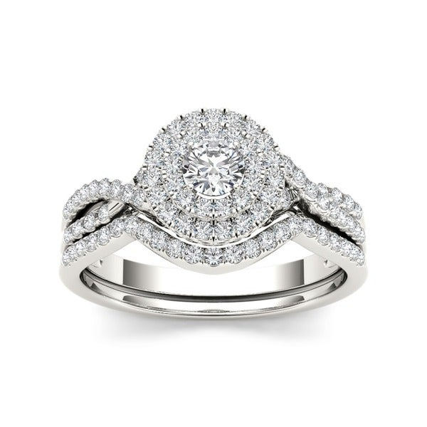 De Couer 10k Gold 3/ 4ct TDW Diamond Halo Bridal Ring Set (H-I, I2)