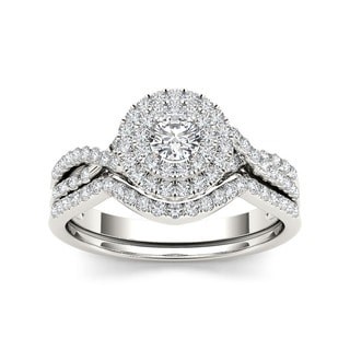 De Couer 10k Gold 3/ 4ct TDW Diamond Halo Bridal Ring Set