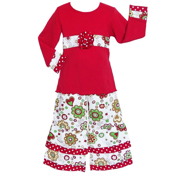 AnnLoren Girls Floral/Hearts Set