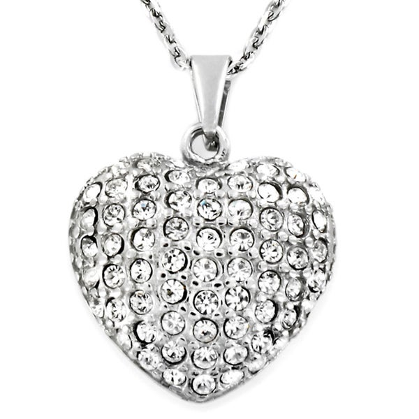 Stainless-Steel Round-Cut Cubic Zirconia Heart Necklace