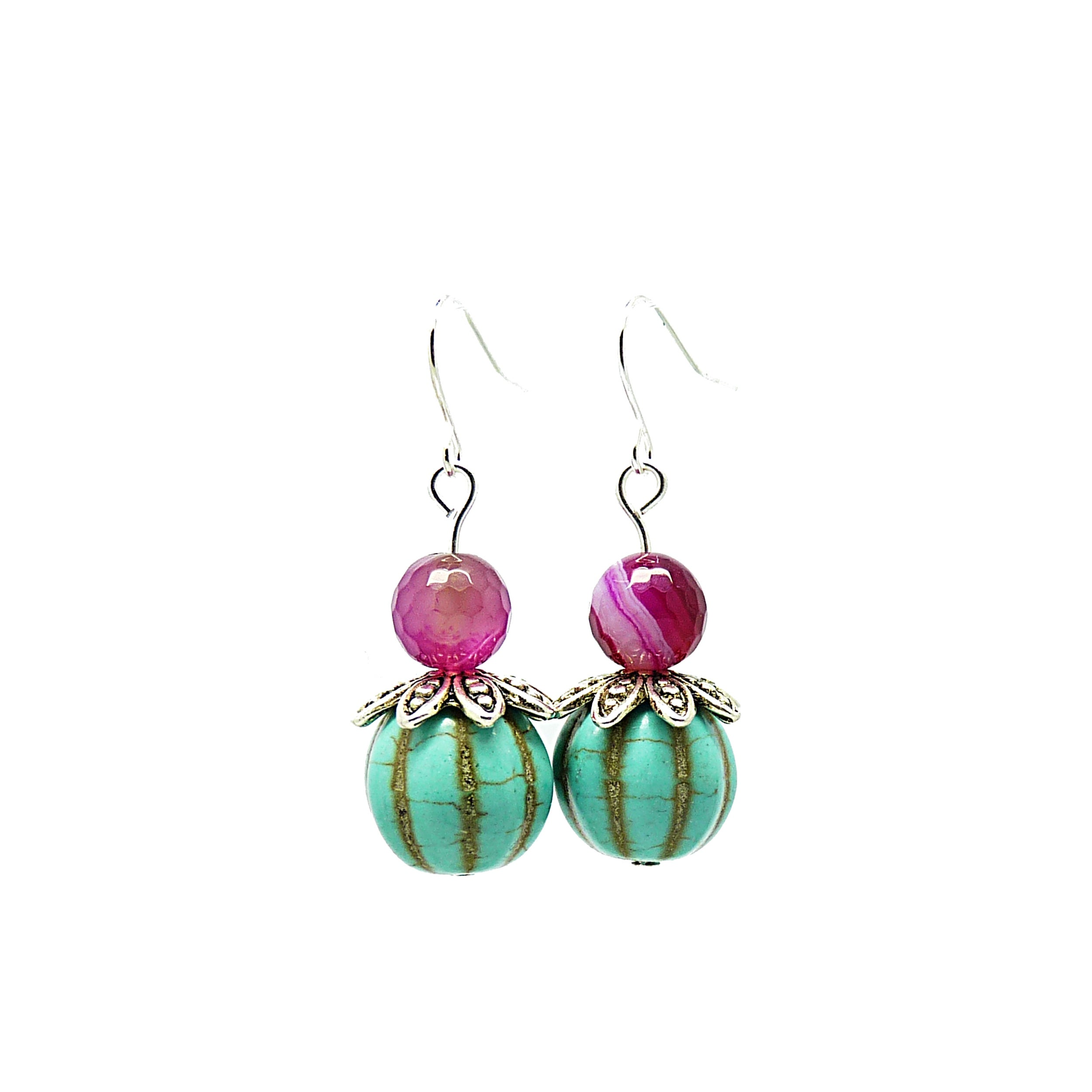 Pretty Little Style Silvertone Agate Turquoise Earrings