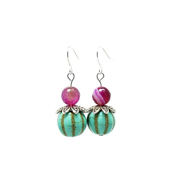 Pretty Little Style Silvertone Agate Turquoise Earrings