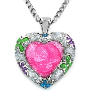 Stainless Steel Colored Enamel Heart Necklace