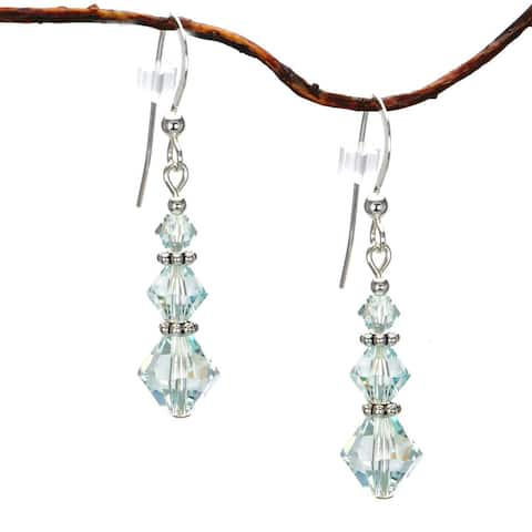Handmade Jewelry by Dawn Pale Blue Crystal Triple Bicone Sterling Silver Earrings (USA)