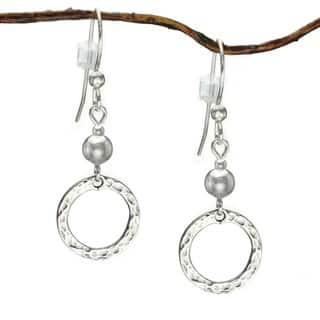 Jewelry by Dawn Sterling Bead With Hammered Circle Sterling Silver Earrings|https://ak1.ostkcdn.com/images/products/7302454/P14774319.jpg?impolicy=medium