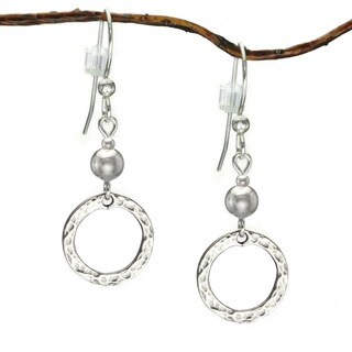 Handmade Jewelry by Dawn Sterling Bead With Hammered Circle Sterling Silver Earrings (USA)