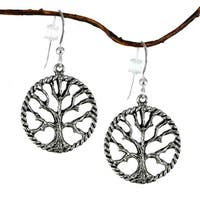 Handmade Jewelry by Dawn Antique Pewter Tree Of Life Earrings - Silver
