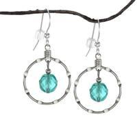 Handmade Jewelry by Dawn Aqua Silver Notched Hoop Earrings