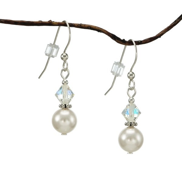 Jewelry by Dawn White Pearl Double Bead Sterling Silver Earrings