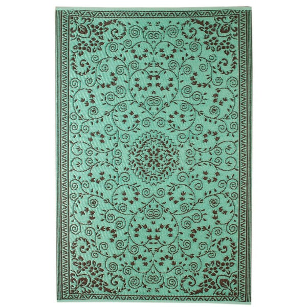 Aqua/ Coffee Indoor/ Outdoor Area Rug (6' x 4')