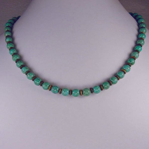 Jewelry by Dawn Turquoise Magnesite With Brown Bone Necklace