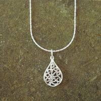 Jewelry by Dawn Small Filigree Teardrop Dainty Sterling Silver Necklace