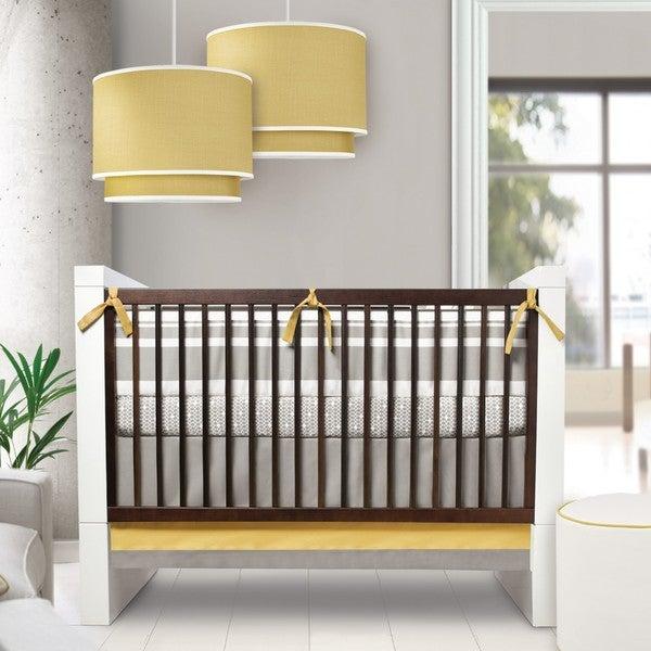 Oilo Triple Band Stone and Citron 3-piece Crib Bedding Set