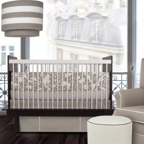 Oilo Modern Berries Taupe 3-piece Crib Bedding Set