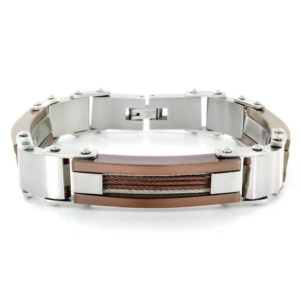 Crucible Stainless Steel Men's Copper Cable and Link Bracelet