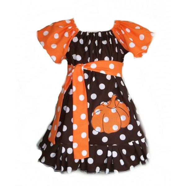 Just Girls Polka Dot Fun Pumpkin Dress