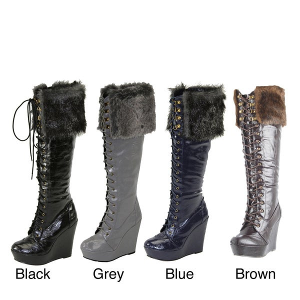 I-Comfort Women's Knee-high Faux Fur Lace-up Boots