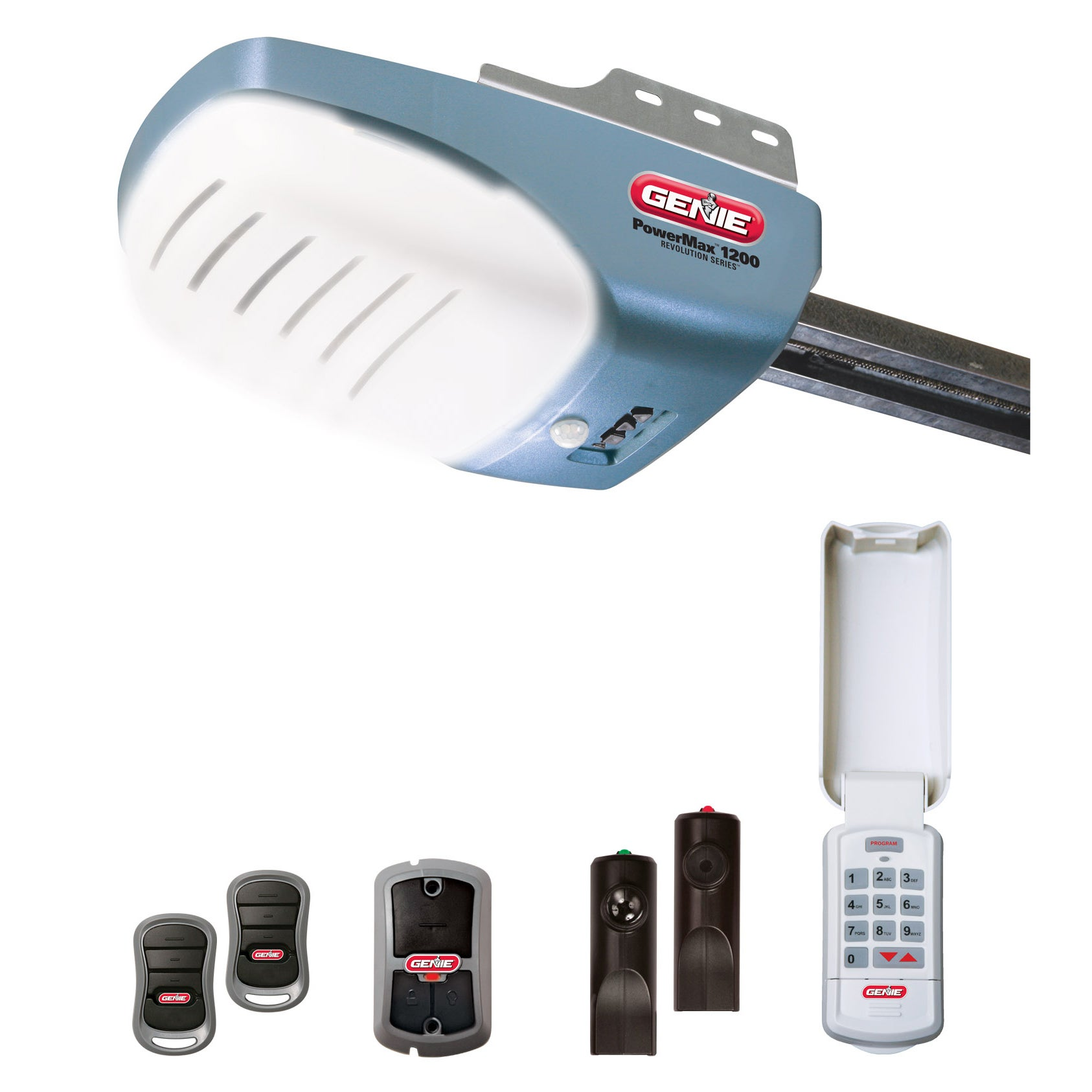 Genie Garage Door Opener w/ 2 Remotes, Wall Console, and ...