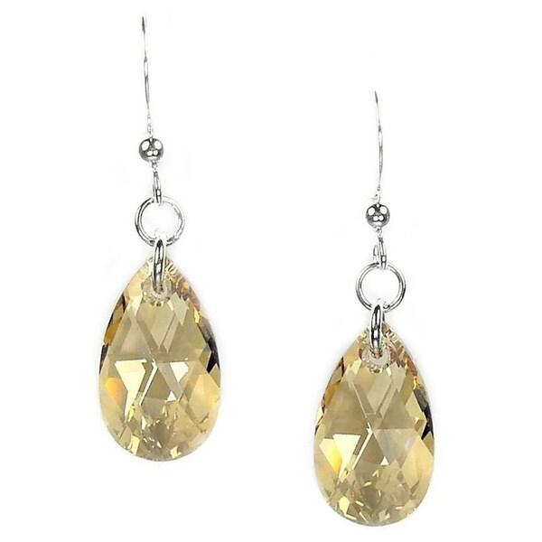 Handmade Jewelry by Dawn Sterling Silver Teardrop Golden Shadow Crystal Pear Earrings (USA)