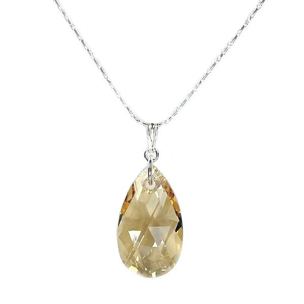 Jewelry by Dawn Large Golden Shadow Crystal Pear Sterling Silver Necklace