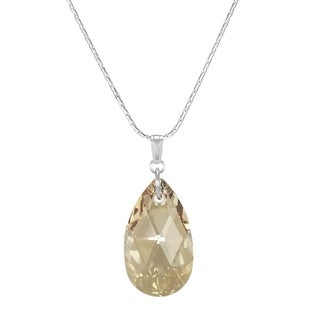 Handmade Jewelry by Dawn Large Golden Shadow Crystal Pear Sterling Silver Necklace (USA)