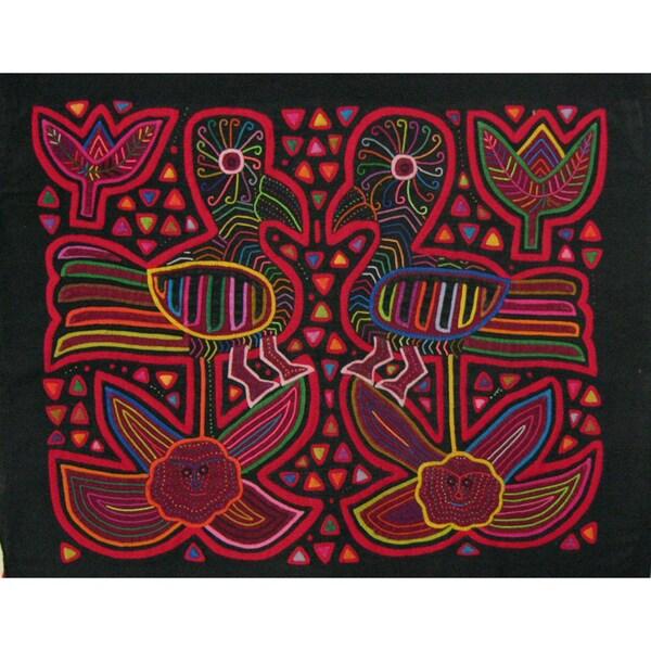 Fabric 'Birds on Flowers' Tapestry (Panama)