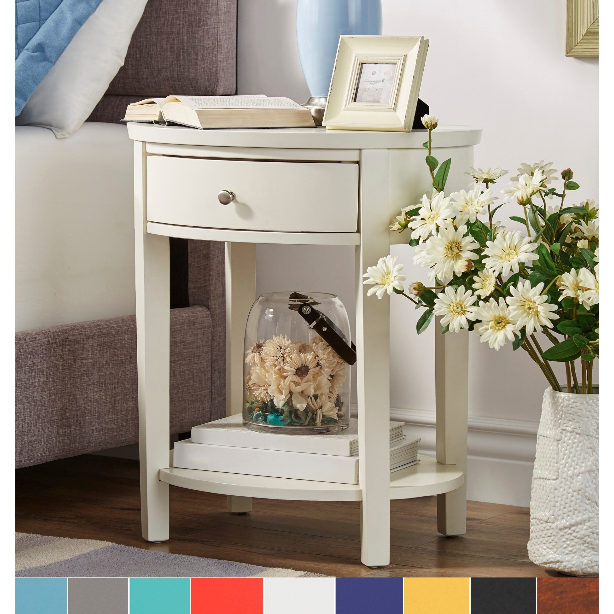 Fillmore-1-drawer-Oval-Wood-Shelf-Accent-End-Table-by-1-drawer thumbnail 8
