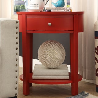 Fillmore 1-drawer Oval Wood Shelf Accent End Table by iNSPIRE Q Bold (Option: Red)