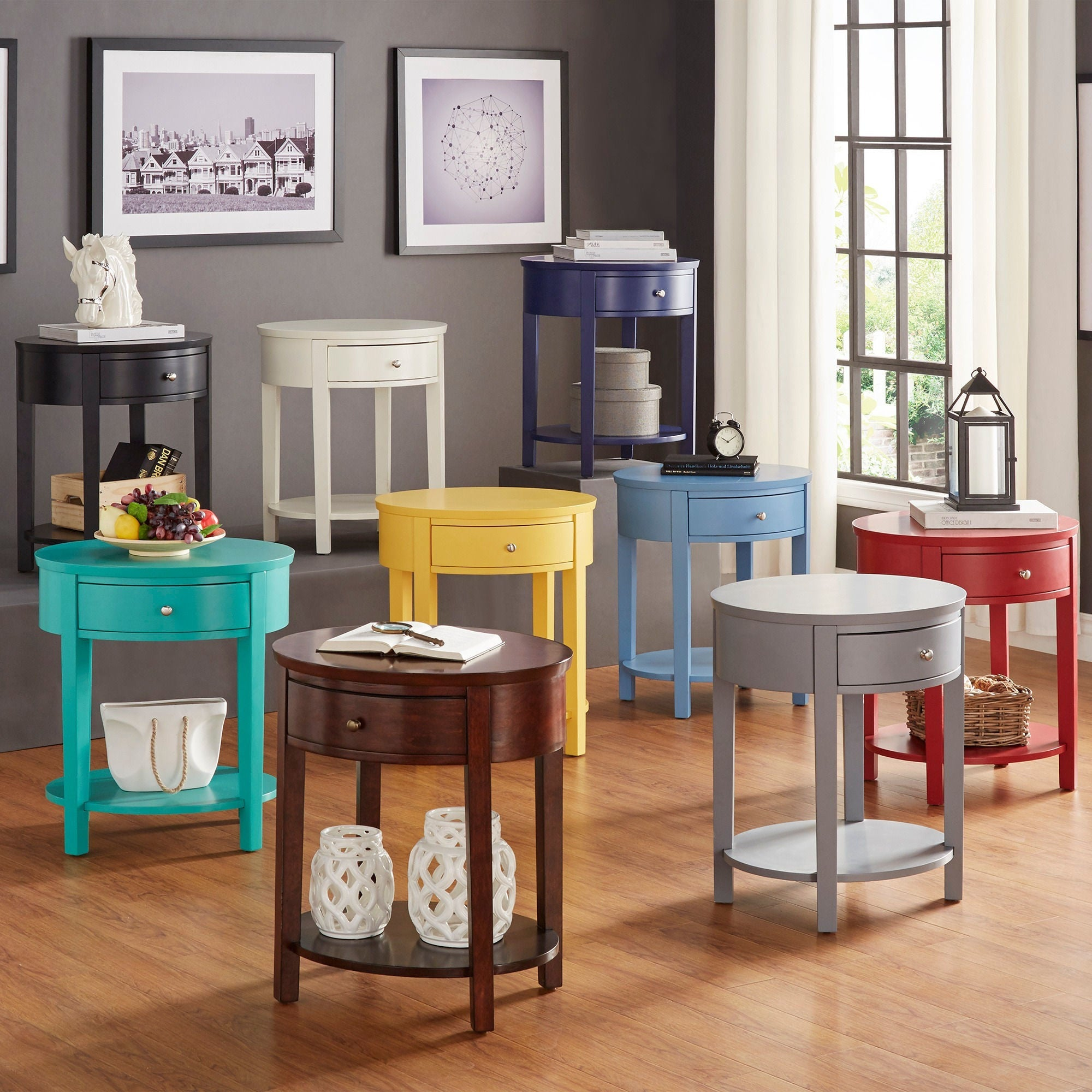 Fillmore-1-drawer-Oval-Wood-Shelf-Accent-End-Table-by-1-drawer thumbnail 9