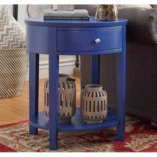 Fillmore 1-drawer Oval Wood Shelf Accent End Table by iNSPIRE Q Bold (More options available)